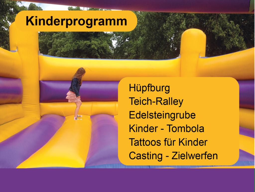 Teichfest Paderborner Angelverein mit Kinderanimation, Hüpfburg Teich Ralley, Casting, Kindertatoos